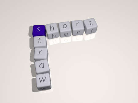 SHORT STRAW combined by dice letters and color crossing for the related meanings of the concept. background and hair