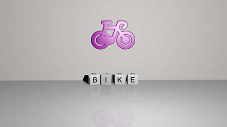 3D representation of BIKE with icon on the wall and text arranged by metallic cubic letters on a mirror floor for concept meaning and slideshow presentation. bicycle and illustration
