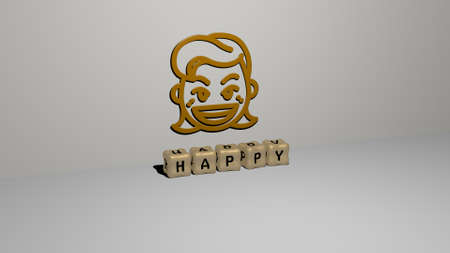 3D representation of HAPPY with icon on the wall and text arranged by metallic cubic letters on a mirror floor for concept meaning and slideshow presentation. background and illustration