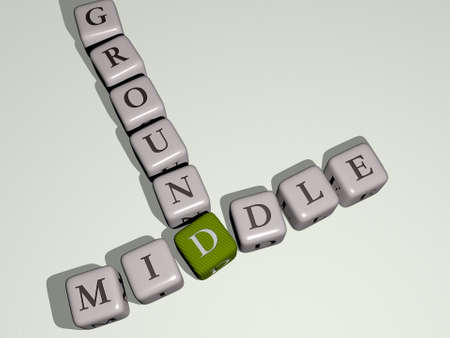 crosswords of middle ground arranged by cubic letters on a mirror floor, concept meaning and presentation. background and east