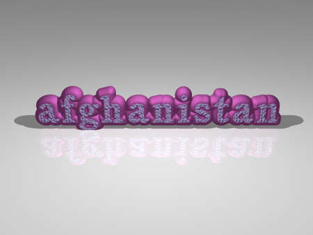 afghanistan in 3D illustration with light perspective and shadow, and image ideal for various usages. flag and background
