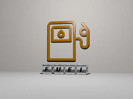 3D illustration of FUEL graphics and text made by metallic dice letters for the related meanings of the concept and presentations. energy and background