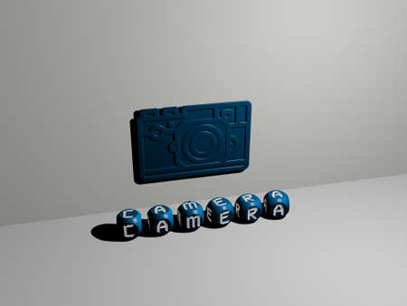 3D illustration of CAMERA graphics and text made by metallic dice letters for the related meanings of the concept and presentations. background and beautiful Banco de Imagens