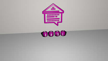 3D illustration of home graphics and text made by metallic dice letters for the related meanings of the concept and presentations. background and house