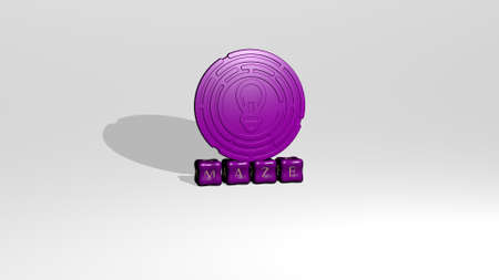 3D representation of maze with icon on the wall and text arranged by metallic cubic letters on a mirror floor for concept meaning and slideshow presentation. illustration and labyrinth