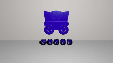 3D representation of wagon with icon on the wall and text arranged by metallic cubic letters on a mirror floor for concept meaning and slideshow presentation. illustration and old