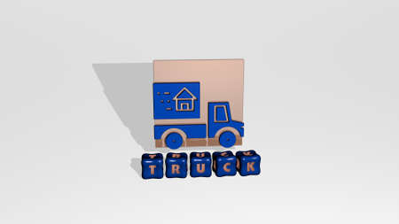 3D representation of truck with icon on the wall and text arranged by metallic cubic letters on a mirror floor for concept meaning and slideshow presentation. illustration and car