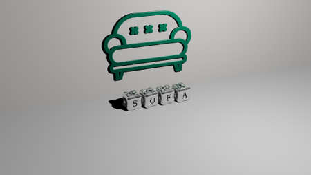 3D graphical image of sofa vertically along with text built by metallic cubic letters from the top perspective, excellent for the concept presentation and slideshows. home and room