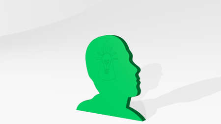 man with idea on the wall. 3D illustration of metallic sculpture over a white background with mild texture. concept and business