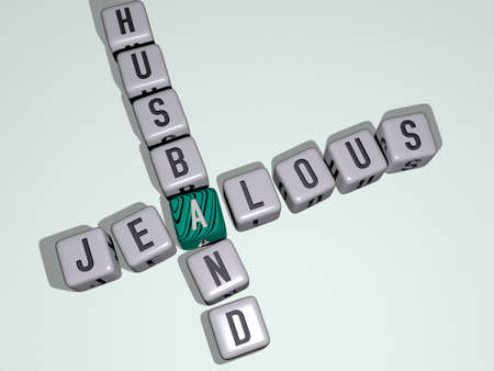 crosswords of JEALOUS HUSBAND arranged by cubic letters on a mirror floor, concept meaning and presentation. couple and boyfriend Banque d'images