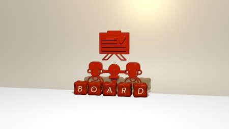 3D representation of BOARD with icon on the wall and text arranged by metallic cubic letters on a mirror floor for concept meaning and slideshow presentation. background and illustration