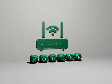 3D graphical image of ROUTER vertically along with text built by metallic cubic letters from the top perspective, excellent for the concept presentation and slideshows. illustration and internet