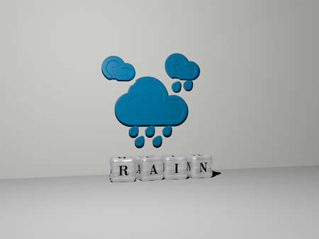3D graphical image of RAIN vertically along with text built by metallic cubic letters from the top perspective, excellent for the concept presentation and slideshows. background and illustration