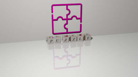 3D representation of PUZZLE with icon on the wall and text arranged by metallic cubic letters on a mirror floor for concept meaning and slideshow presentation. illustration and background