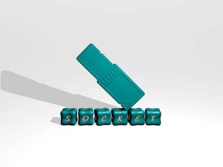 3D representation of socket with icon on the wall and text arranged by metallic cubic letters on a mirror floor for concept meaning and slideshow presentation. illustration and background