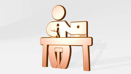 WORKING MAN BEHIND DESK WITH LAPTOP stand with shadow. 3D illustration of metallic sculpture over a white background with mild texture. business and office