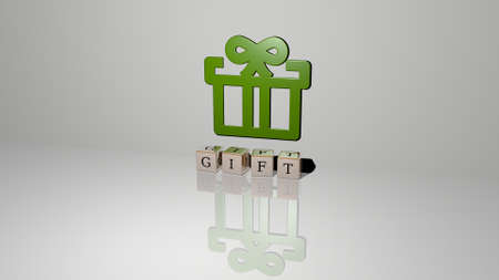 3D representation of gift with icon on the wall and text arranged by metallic cubic letters on a mirror floor for concept meaning and slideshow presentation. background and illustration Stok Fotoğraf