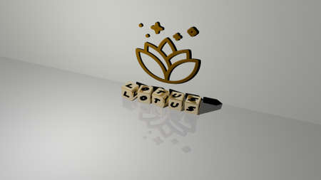 3D illustration of lotus graphics and text made by metallic dice letters for the related meanings of the concept and presentations. flower and background