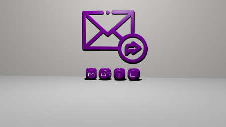3D graphical image of mail vertically along with text built by metallic cubic letters from the top perspective, excellent for the concept presentation and slideshows. illustration and icon Banco de Imagens
