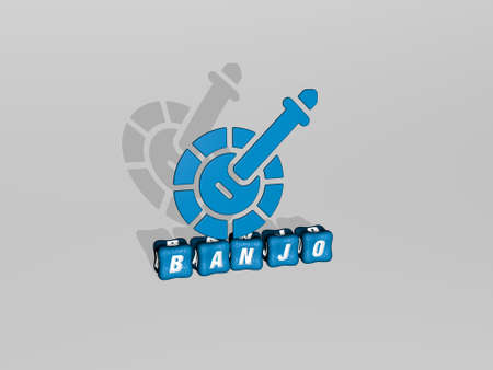 3D graphical image of BANJO vertically along with text built by metallic cubic letters from the top perspective, excellent for the concept presentation and slideshows. illustration and musical