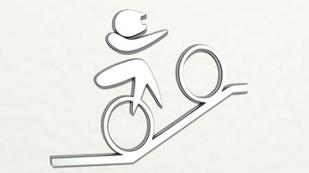 CYCLIST SIGN made by 3D illustration of a shiny metallic sculpture on a wall with light background. bicycle and bike 写真素材