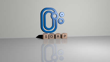 3D illustration of SOAP graphics and text made by metallic dice letters for the related meanings of the concept and presentations. background and bubbles Imagens