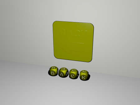 3D illustration of BACK graphics and text made by metallic dice letters for the related meanings of the concept and presentations. background and beautiful Stockfoto