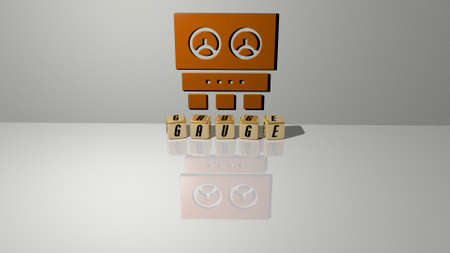 3D representation of gauge with icon on the wall and text arranged by metallic cubic letters on a mirror floor for concept meaning and slideshow presentation. illustration and equipment Reklamní fotografie