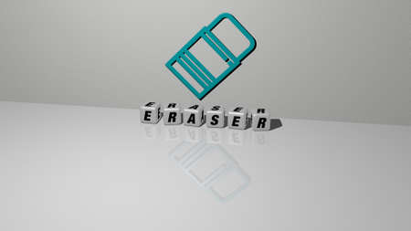 3D illustration of ERASER graphics and text made by metallic dice letters for the related meanings of the concept and presentations. pencil and background