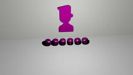 3D illustration of WAITER graphics and text made by metallic dice letters for the related meanings of the concept and presentations. cartoon and character