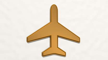 AEROPLANE on the wall. 3D illustration of metallic sculpture over a white background with mild texture. airplane and aircraft Imagens