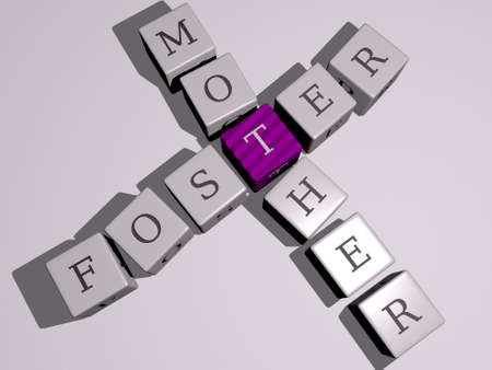 crosswords of foster mother arranged by cubic letters on a mirror floor, concept meaning and presentation. family and child 版權商用圖片