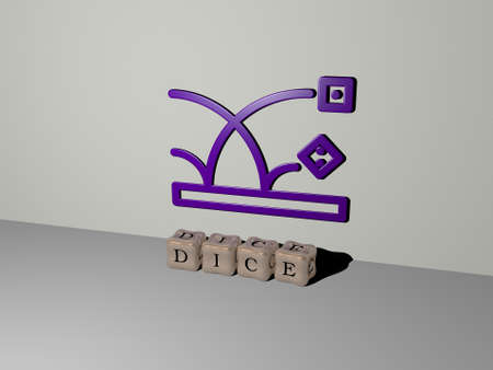 3D representation of dice with icon on the wall and text arranged by metallic cubic letters on a mirror floor for concept meaning and slideshow presentation. illustration and background