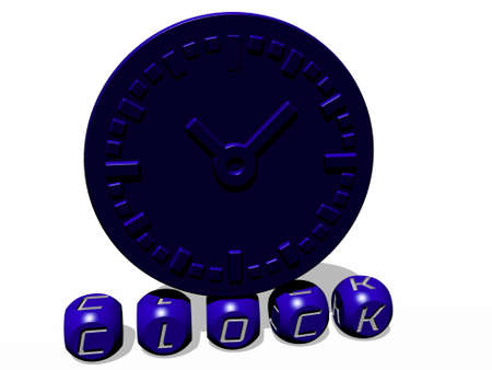 3D graphical image of clock vertically along with text built by metallic cubic letters from the top perspective, excellent for the concept presentation and slideshows. illustration and background Stockfoto