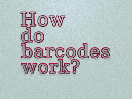 Question HOW DO BARCODES WORK? is written in a colorful image. illustration and background Banque d'images