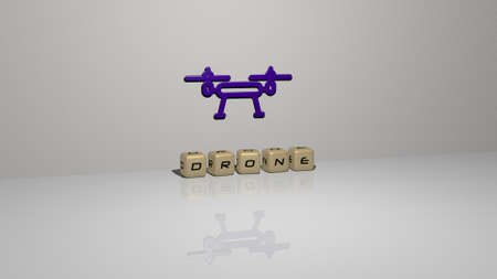 3D representation of DRONE with icon on the wall and text arranged by metallic cubic letters on a mirror floor for concept meaning and slideshow presentation. aerial and view 版權商用圖片