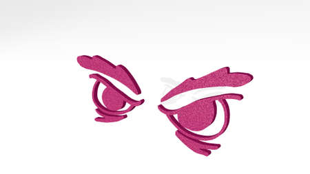 angry eyes made by 3D illustration of a shiny metallic sculpture on a wall with light background. cartoon and character