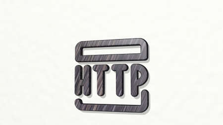 PROGRAMMING LANGUAGE HTTP from a perspective on the wall. A thick sculpture made of metallic materials of 3D rendering. illustration and code
