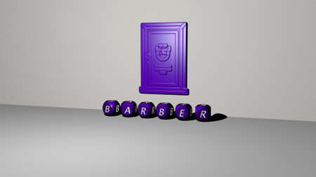 3D illustration of BARBER graphics and text made by metallic dice letters for the related meanings of the concept and presentations. hair and beauty