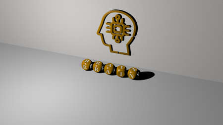 3D illustration of brain graphics and text made by metallic dice letters for the related meanings of the concept and presentations. background and human