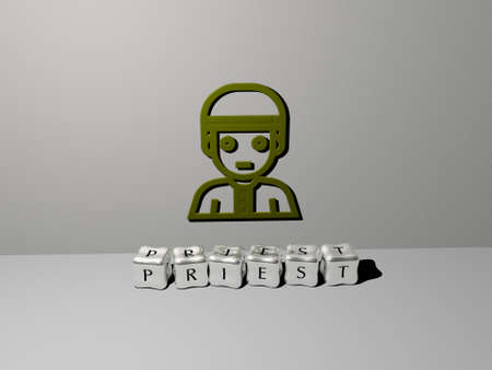 3D illustration of priest graphics and text made by metallic dice letters for the related meanings of the concept and presentations. church and catholic Stock Photo