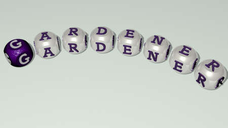 GARDENER combined by dice letters and color crossing for the related meanings of the concept. gardening and agriculture