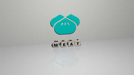 3D representation of MEAT with icon on the wall and text arranged by metallic cubic letters on a mirror floor for concept meaning and slideshow presentation. food and background Stock Photo