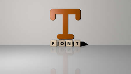 3D representation of FONT with icon on the wall and text arranged by metallic cubic letters on a mirror floor for concept meaning and slideshow presentation. illustration and design