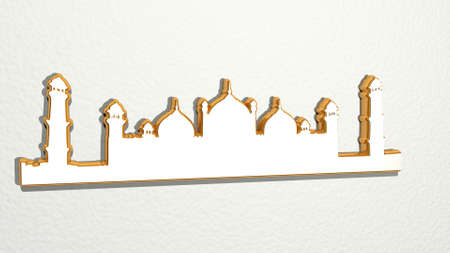 LANDSCAPE OF ISLAMIC CITY on the wall. 3D illustration of metallic sculpture over a white background with mild texture. beautiful and blue Stockfoto