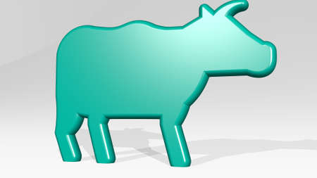 DOMESTIC ANIMAL CATTLE stand with shadow. 3D illustration of metallic sculpture over a white background with mild texture. cute and beautiful Zdjęcie Seryjne