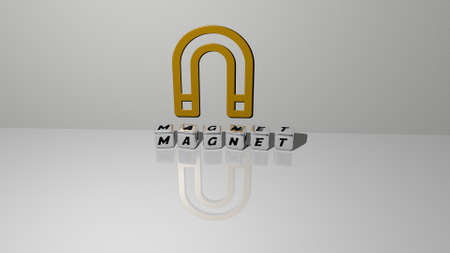 3D representation of magnet with icon on the wall and text arranged by metallic cubic letters on a mirror floor for concept meaning and slideshow presentation. illustration and background Imagens