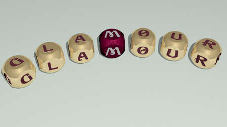 GLAMOUR combined by dice letters and color crossing for the related meanings of the concept. background and beautiful
