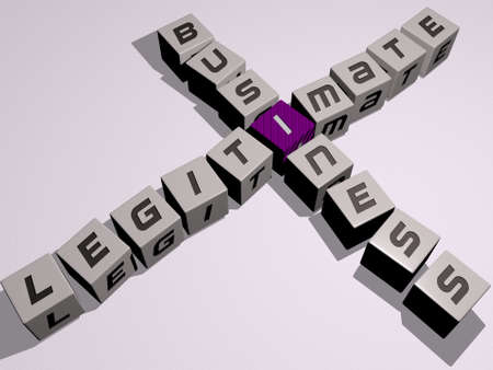 crosswords of legitimate business arranged by cubic letters on a mirror floor, concept meaning and presentation. illustration and background
