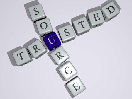 marketing sales: TRUSTED SOURCE combined by dice letters and color crossing for the related meanings of the concept. illustration and business